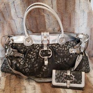 GUESS Denim & Silver Cheetah Print Bag With Wallet